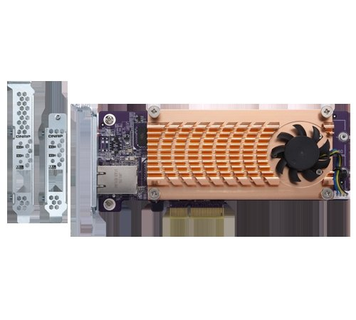Qnap TS-Dual nvme m.222110/2280PCIe SSD und Single 10GBASE-T 10GbE Netzwerk Expansion Card (PCIe Gen2X 4) (QM2–2p10g1t) (Edelstahl-low-anschluss)