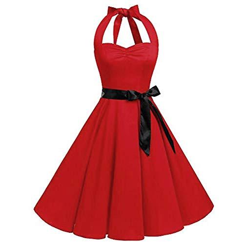 VEMOW Elegante Damen Damen Vintage Bodycon Sleeveless Halter beiläufige Tanzabend Party Prom Brautjungfern Swing Dress Faltenrock Cocktailkleid(X4-Rot, EU-38/CN-M)