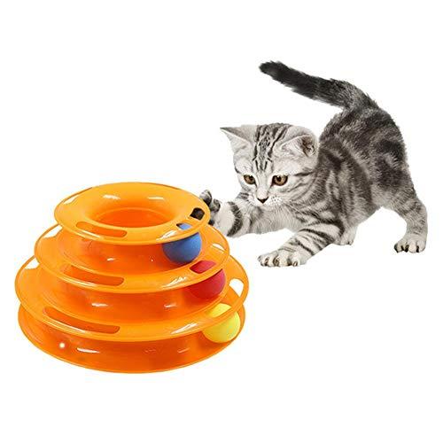 IW.HLMF Katzenspielzeug Tower of Tracks 3 Ebene, Katzenspielzeug Tower Interaktives Kreisel mit Ball DREI Schichten Tower fördert die Intelligenz, DREI Schichten,Orange -