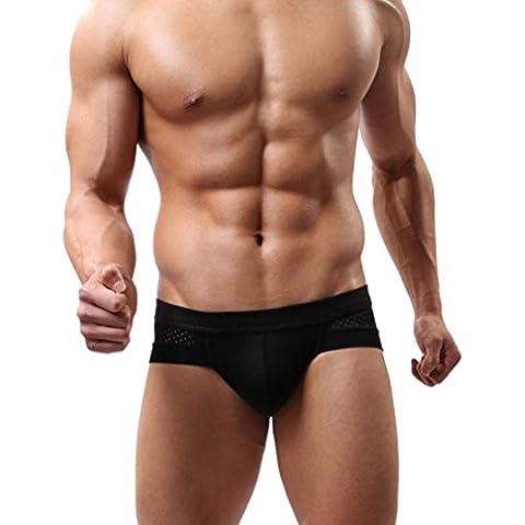 Calzoncillos para hombre, Amlaiworld Boxer de algodón de los calzoncillos suaves Briefs (Negro, XL)
