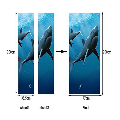 Wandtattoos & Wandbilder Farbe SharkTür Kunst Dekor Hause Diy 3DSelbstklebendeTür Aufkleber MusterFürZimmer Home Door Decor Mural 77X200 Cm