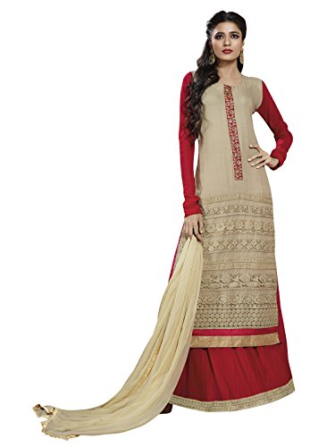 Varayu Women's Georgette Dress Material (240DJ68009_Free Size_Beige and Red)