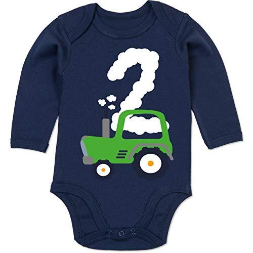 Shirtracer Geburtstag Baby - Traktor Geburtstag 2-12-18 Monate - Navy Blau - BZ30 - Baby Body Langarm
