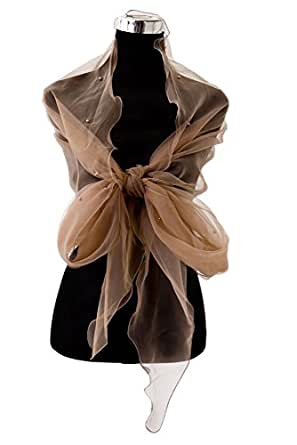 Brown Long Pearl Embellished Wrap Shawl Stole Scarf For Weddings Bridal Bridesmaids & Evening Wear