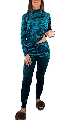 Worldclassca Damen Jogginganzug SAMT Uni Hausanzug WELLNESSANZUG Trainings-Anzug Freizeitanzug Jogging Fitness Sportanzug Fitness Pullover+Hose Set Blogger S-XL (S-M = 34-38, Türkis-Samt)