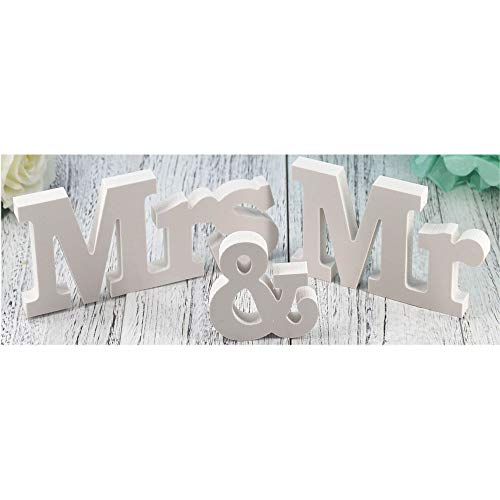Letras de madera para decoración de boda, mesa de boda, accesorios de fotos, mesa de fiesta, decoración de cena superior (Mr & Mrs), color blanco