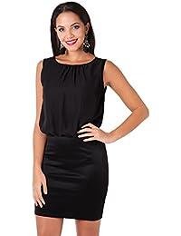 KRISP Damen 2in1 Elegantes Kleid Stretch Rock Chiffon Oberteil