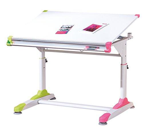 Links 50900440 Kinderschreibtisch Schülerschreibtisch Schreibtisch Kind Schüler, weiß / rosa / grün