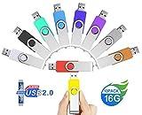 Clé USB 16 Go Lot de 10, JUYUKEJI 10 Pièces 16Go Pivotant USB 2.0 Mémoire Flash...