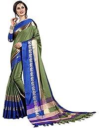 Fashionesta Latest Women Cotton Silk Saree With Extra Broket Blouse(DARK GREEN)