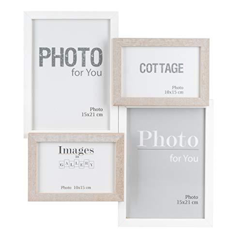 elbmöbel Bilderrahmen Collagen Holzrahmen Glas 4er in weiß, schwarz-weiß, Natur braun Shabby chic ab 4 Fotos 10x15 15x21 MDF Holz Glas (Weiß-Braun, 40 x 35cm)
