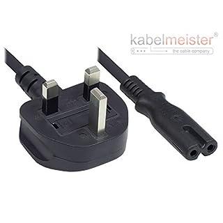 Kabelmeister Netzkabel - 1,8 m - England/UK Netz-Stecker Typ G (BS 1363) an C7/Euro 8 Buchse (gerade) - 3A Sicherung - ASTA Zertifiziert - 0,75 mm² - SCHWARZ