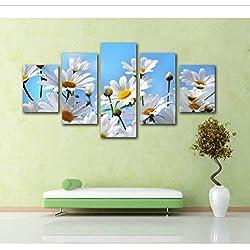 Zybnb Nuevo 5 Unidades de Lona Impresión HD Flor de la Margarita Arte Cuadro de la Imagen de Pared Para la Sala de estar Decoración Del Hogar DecoraciónModerna