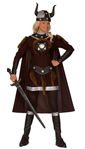 Wikinger Helme Kostüm - Karneval-Klamotten Wikinger-Kostüm Damen braun mit Umhang Nordmann-Kostüm mit Wikinger Helm Damen-Kostüm Größe 42/44