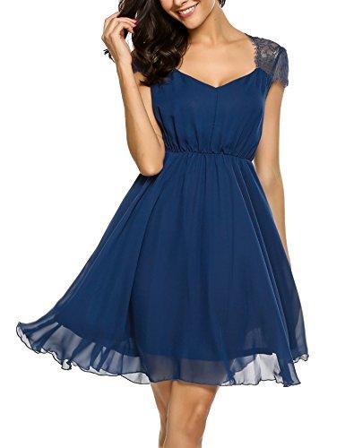 Zeagoo Damen Elegant Sommerkleid Chiffon Kleid Festliches Cocktail Party Kleid mit Spitze Kurz A Linie Navy Blau XXL Chiffon Sommer Kleider