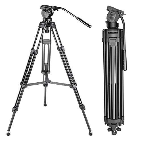 Neewer 155cm Trépied de Vidéo Caméra en Alliage d'Aluminium avec Tête Fluide de 360 Degrés, Plateau Rapide de 1/4 et 3/8, et Sac de Transport, Charge Admissible de 12kg