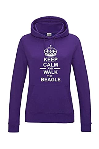 Keep Calm & Walk The Beagle Dog Womens Hooded Sweatshirt