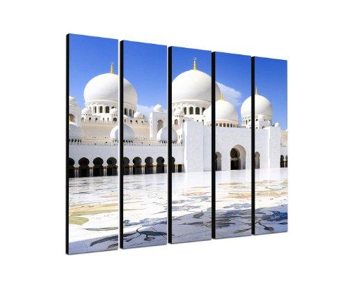 Abu Dhabi Moschee 5x30x120cm XXL extra großes 5-teiliges Wandbild auf Leinwand und Keilrahmen fertig zum aufhängen – Unsere Bilder auf Leinwand bestechen durch ihre ungewöhnlichen Formate und den extrem detaillierten Druck aus bis zu 100 Megapixel hoch aufgelösten Fotos.