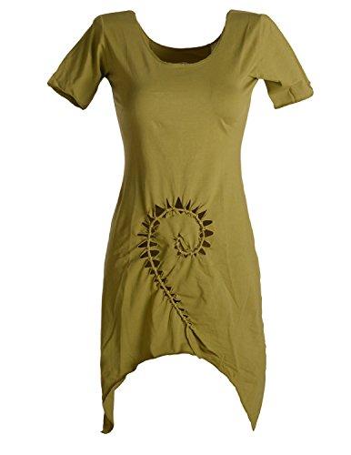 Vishes - Alternative Bekleidung - Zipfeliges Cut Out Elfenkleid Tunika aus dehnbarer Baumwolle - mit aufgeschnittener und geflochtener Spirale Olive 42/44 - Baumwolle Geflochten Olive