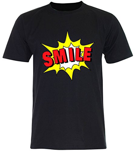 PALLAS Unisex's Smile Funny T Shirt Black