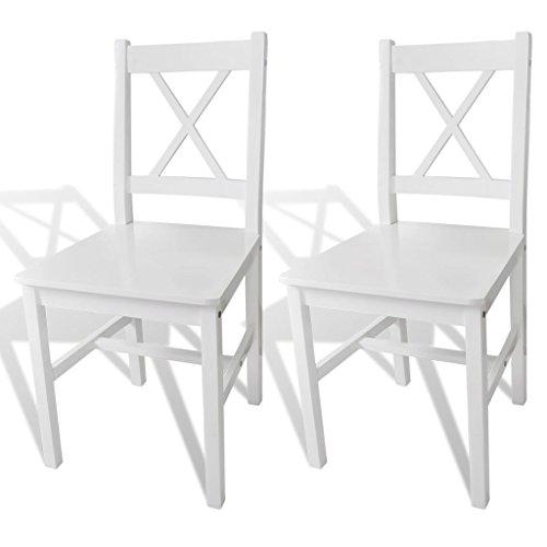 vidaXL 2X Chaise Salle à Manger Bois Blanc Chaise à Manger Chaise de Cuisine