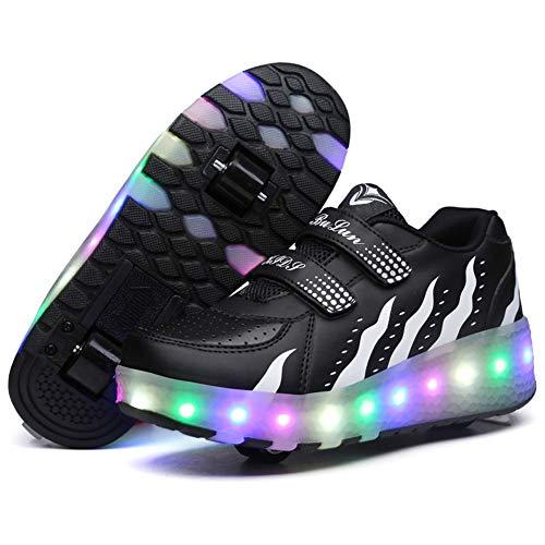 Kinderschuhe mit Rollen Skateboardschuhe LED Skate Schuhe Roller Skate Shoes Rollen Schuhe Skateboard Schuhe Schuhe mit Rollen Kinder Jungen Mädchen Schuhe Sneaker Sportschuhe mit Rollen ,Black,40EU