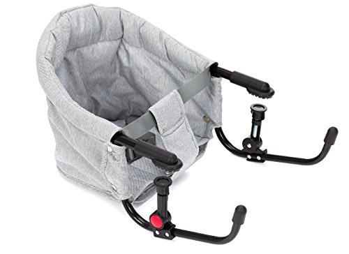 Fillikid Tischsitz Exclusiv | Faltbarer Babysitz für zuhause und unterwegs | Stuhlsitz mit klappbarer Schraubfixierung | Belastbar bis 15 kg, Design:grau/melange