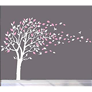 Large Tree Blowing in The Wind Tree Wall Decals Wall Sticker Vinyl Art Kids Rooms Teen Girls Boys Wallpaper Murals Sticker Wall Stickers Nursery Decor Nursery Decals (White and Pink)