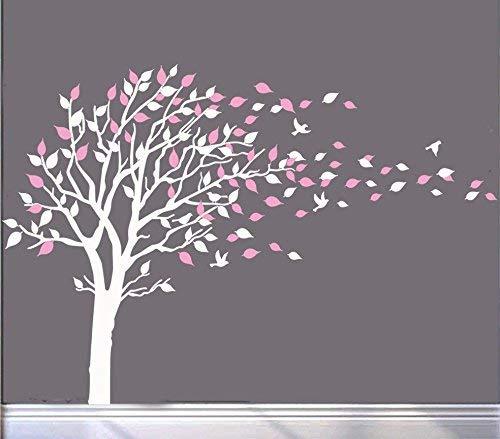 MAFENT Großer Baum Wandtattoo Vinyl Mauer Kunst Kinder Zimmer Mädchen Jungen Wandgemälde Aufkleber Wand Aufkleber Kindergarten Dekor(Weiße und Rosa) (Baum-wand-aufkleber Mädchen)