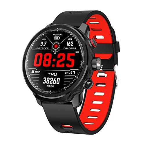 Fuibo Smartwatch, LED wasserdicht IP68 Herzfrequenz Band Monitor Armband Sport Uhr Armbanduhr Smart Watch Voller Touchscreen, Anti-Fingerabdrücke Fitness Tracker für Herren Damen (Rot)