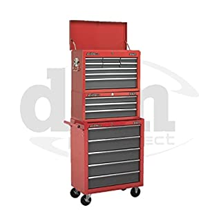 Red Sealey 17 Drawer Top Chest Box Roller Roll Cabinet Tool Storage Toolbox