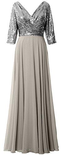 MACloth - Robe - Trapèze - Manches 3/4 - Femme Gray-Silver