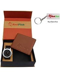 RedFish Stylist Wrist Men Watch And Tan Wallet Combo - (RDF-1016-PU)