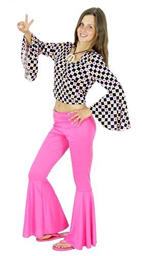 70er Jahre Flower Power Hippiekostüm für Damen Karneval Fasching Party Gr. XS - XL, Größe:XS (Flower Power Kostüm Damen)