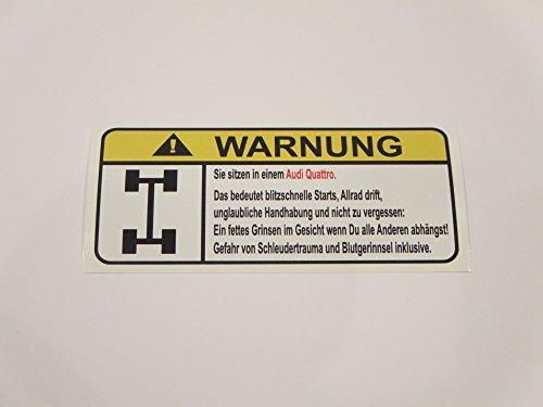(Audi quattro Lustig 4x4 Warnung Aufkleber Decal Sticker)
