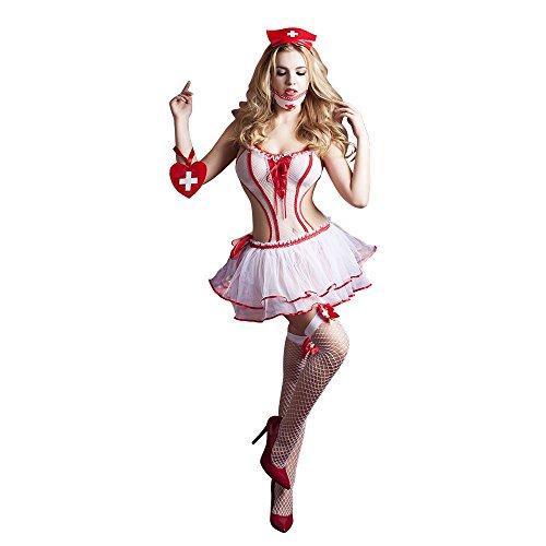 t Pyjamas, Krankenschwester Kleidung sexy Babydoll Uniform Uniform Frauen erregt Uniform Versuchung 6 Punkt Set Krankenschwester Kostüm Körper passt Maske Rock net Streik Haarschmu ()