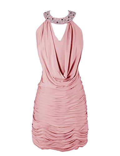 Dressystar Robe femme,Fourreau, Robe de soirée/de bal,dos nu,courte en Mousseline Blush