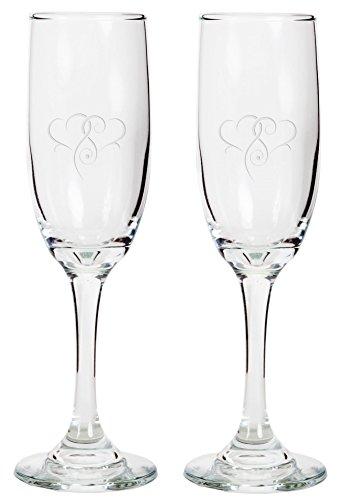 Champagner Flöten-Personalisierte Glas Hochzeit champagner Flöten, Gravur anrösten Gläser, mit Herzen, 2Stück