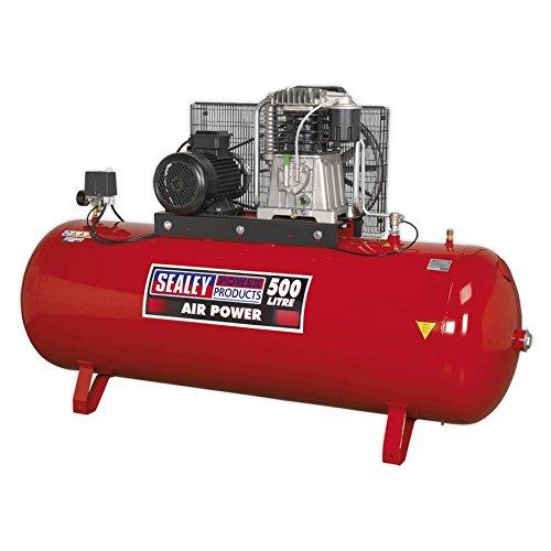 SEALEY sac65010b 500L 10HP 3PH 2étapes Compresseur courroie avec cylindres en fonte