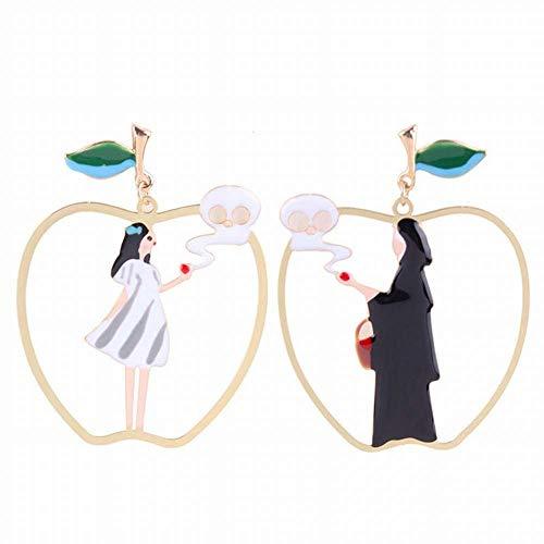EARRINGS HOME Ohrstecker, Ohrringe, Ohrringe, Ohrringe, Damenschmuck, süße Frucht Ohrringe Mädchen Herz Persönlichkeit Ohrringe Student Asymmetrische Schneewittchen Hexe Ohrringe, wie zeigen, eine Grö