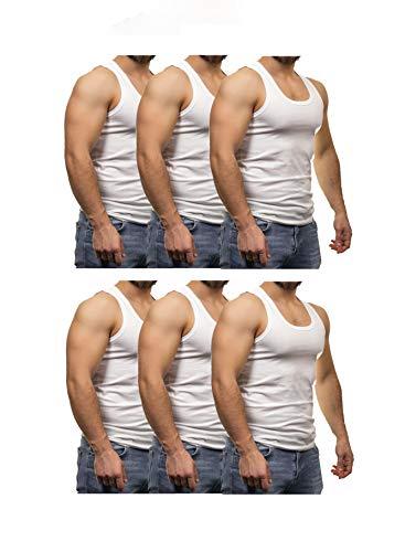 GRSN PENYE Herren Unterhemd Atmungsaktiv 6er Pack Weiß Rundhals Feinripp aus 100% Baumwolle, Weiß, L
