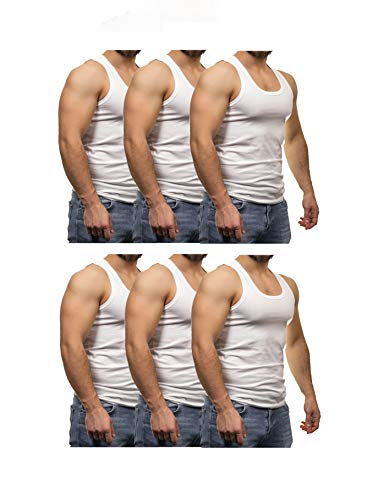 GRSN PENYE Herren Unterhemd Atmungsaktiv 6er Pack Weiß Rundhals Feinripp aus 100{1c75f9714ea877b142cf4bd94599c9a3509b782c6649a0867d62e5a3b4eaec60} Baumwolle, Weiß, M