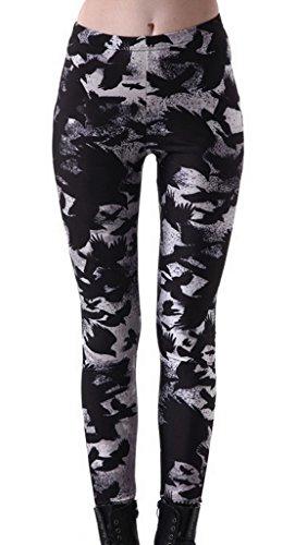Smile YKK Pantalon Femme Slim Legging Imprimé Numérique Collant Fantaisie Casual Sport Mode Corneille