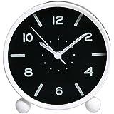 Skitic Moderne Élégant Alarm Clock Réveil-Silencieux Snooze Rond Fluorescent Lumineux, Souvent Classique Horloge de Table Bureau Quartz pour Chevet Bureau étude Salon Chambre d'enfant - Blanc