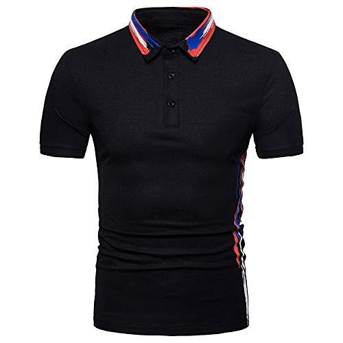 Alpha Baumwolle Polo-shirt (Btruely Herren Poloshirt Kurzarm T-Shirt Sommer Basic Tee Männer Polo Shirt Slim Fit Top Oversize Kurzarmshirt Männer Polohemden Plus Size Kurzarmhemden (Schwarz-b, XL))