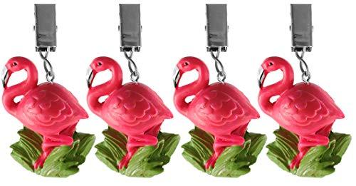 My-goodbuy24 Tischdeckenbeschwerer mit Klammer - 4er Set - Tischdeckenhalter Garten Tischdeckenklammern Tischtuch Clips - Polystone (Flamingo)