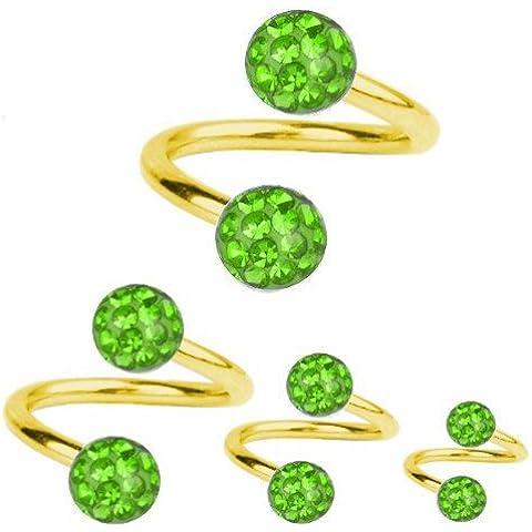 Piercing oro plateado de titanio cerrojos espiral 1, 2, diseño de bola de cristal verde   6-12
