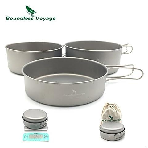 Outdoor Camping Ultralight 3pcs Titanium Pot Set Cooking Pot With Titanium Pan 500ML+600ML+700ML Only 252.5g