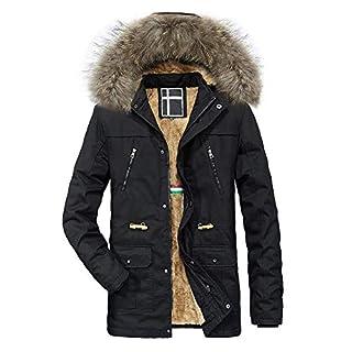 Yvelands Herren Kapuzenjacke Winter Warme mit Reißverschluss Fester Fleece Mantel(EU-50/XL,Schwarz)