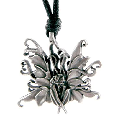 Pewter Fairy and Unicorn Pendant - Fairy Wings Open